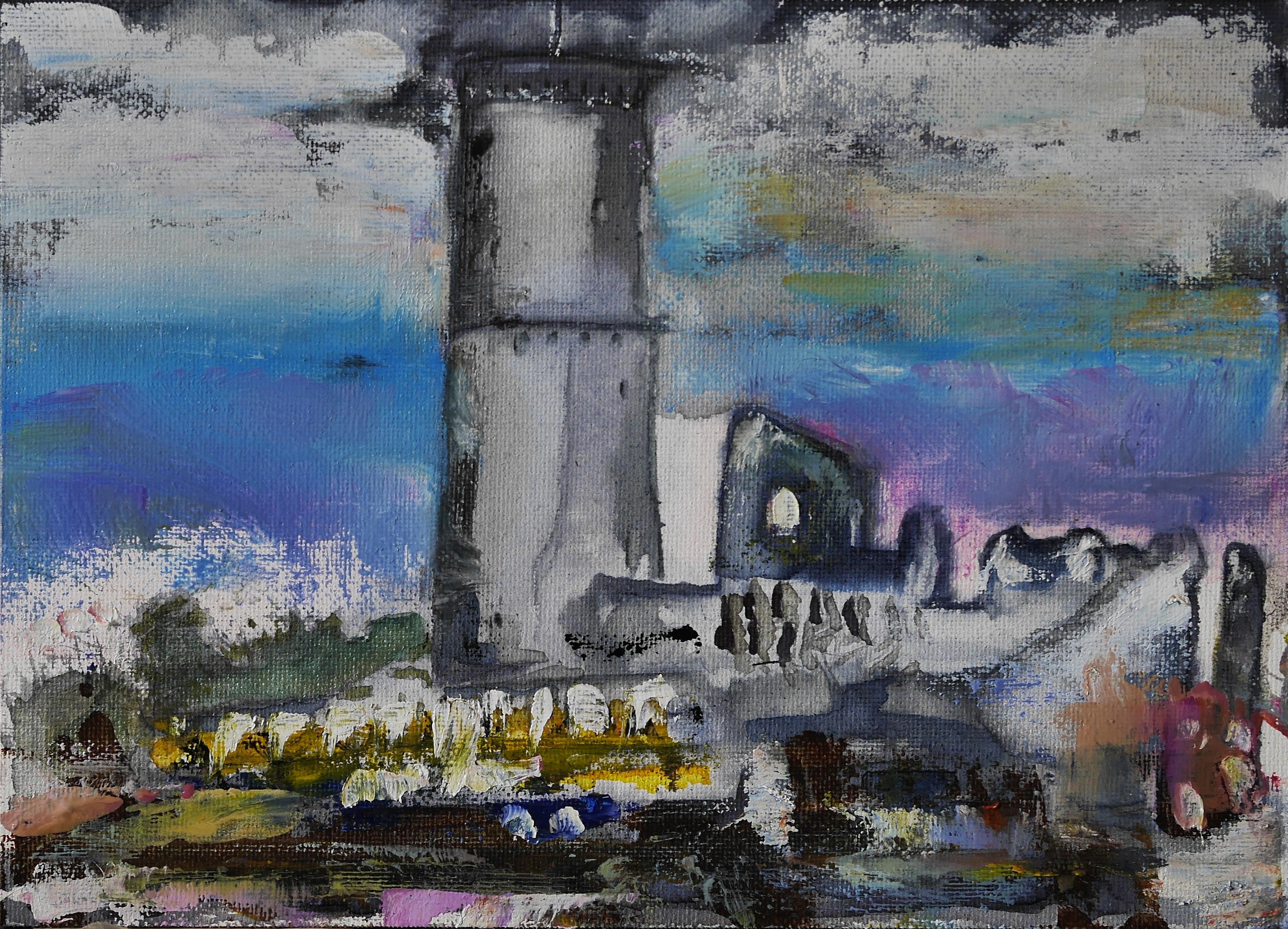 Godesburg im Unwetter, Öl auf Leinwand
